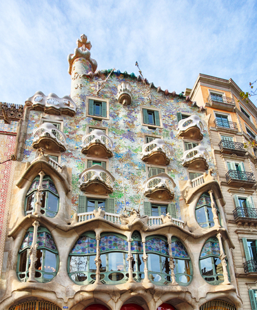 BARCELONA - FABRUARY 9: The facade of the house Casa Battlo (also could the house of bones) designed by Antoni Gaudi  with his famous expressionistic style on February 9, 2016 Barcelona, Spain Editorial