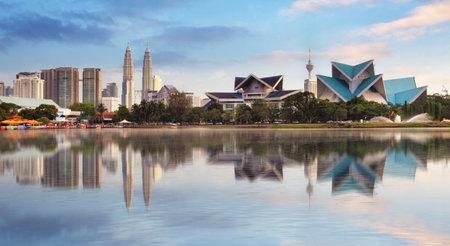 tower: Kuala Lumpur, Malaysia skyline at Titiwangsa Park.