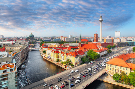 Aerial view of Berlin skyline and Spree river in summer, Germany Editorial