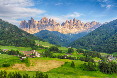 odle: Italy dolomites - Val di Funes Stock Photo