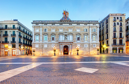 european: Generalitat of Catalonia Palace in Barcelona, Sant Jaume square Editorial