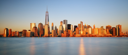 city of sunrise: Downtown New York skyline panorama from Liberty State park, USA