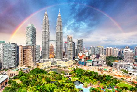 Kuala Lumper skyline with rainbow