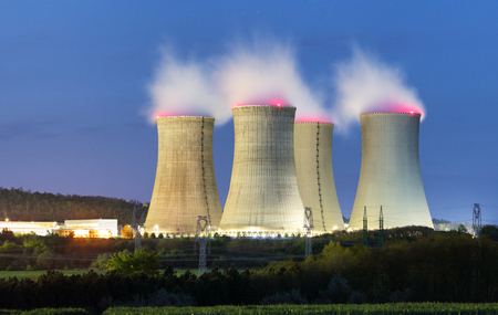 power plant: Nuclear power plant by night