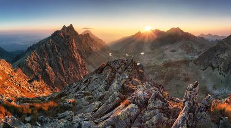 Mountain panorama with sun in Slovakia 스톡 콘텐츠