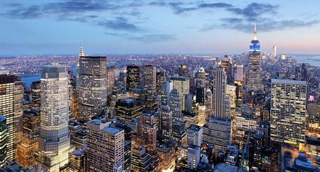 paisajes noche pareja: la ciudad de Nueva York en la noche, Manhattan, EE.UU.