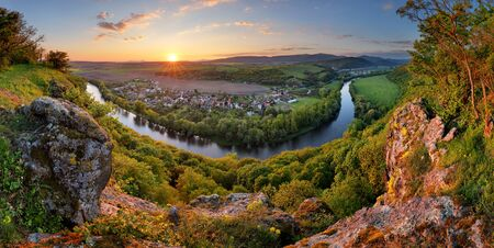 mountain sunset: Panorama with river at sunset in mountain Stock Photo