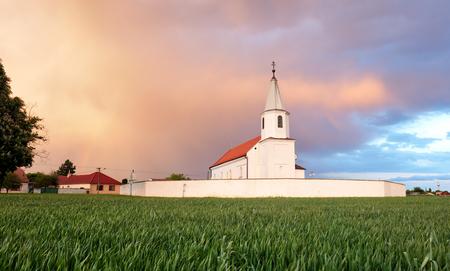 catholism: Church on field, Countryside landscape
