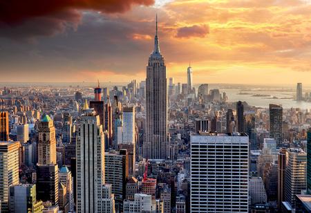 New York panorama při západu slunce, USA. Reklamní fotografie