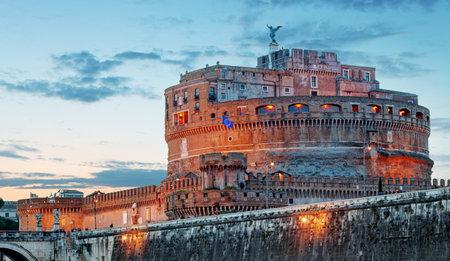 castel: Castel Sant Angelo from  bridge, Rome.