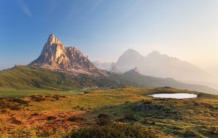 sunrise mountain: Mountain nature landscape in Dolomites Alps, Italy.