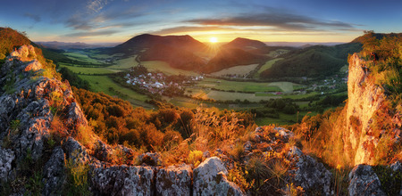 Sunrise on Slovakia mountain panorama landscape Stock Photo