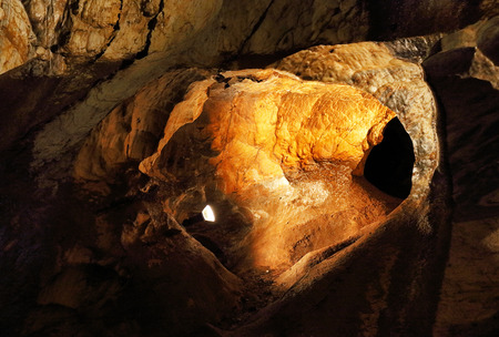 aragonite: Ochtinska aragonitova jaskyna, Ochtinska aragonit cave, Slovakia Stock Photo