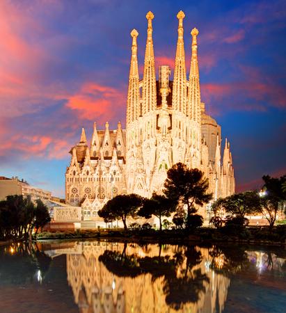 BARCELONA, SPAIN - FEB 10: View of the Sagrada Familia, a large Roman Catholic church in Barcelona, Spain, designed by Catalan architect Antoni Gaudi, on February 10, 2016. Barcelona