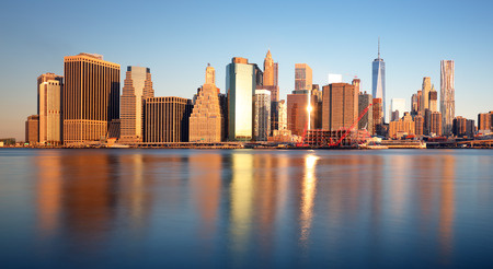 city of sunrise: New York skyline at sunrise, nobody, USA Stock Photo