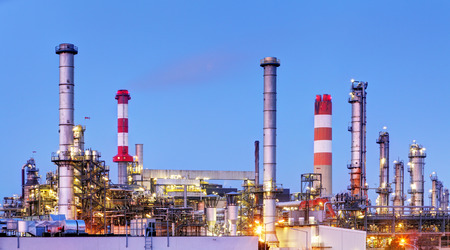Factory with air pollution, Oil industry Stock Photo