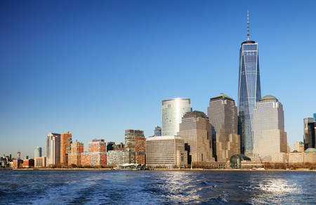 disctrict: Downtown New York skyline panorama from Liberty State park, USA