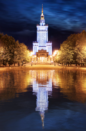 popular science: Palace of Culture and Science in Warsaw, Poland at night.