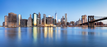 New York Financial District and the Lower Manhattan at dawn viewed from the Brooklyn Bridge Park.