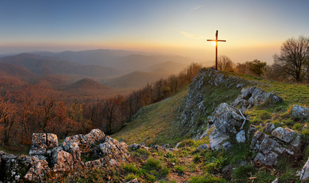 Autumn mountain panorama in Small Karpaty with cross