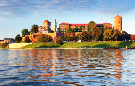 Wawel castle of Vistula river in Krakow city, Poland
