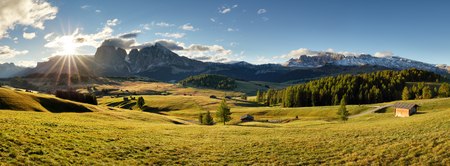 sunrise mountain: Alps sunrise green mountain panorama landscape, Alpe di Siusi