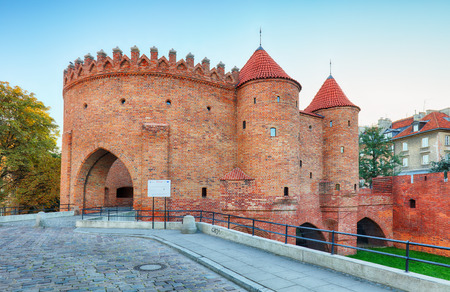 outpost: Barbican fortress in the historic center of Warsaw. Poland.