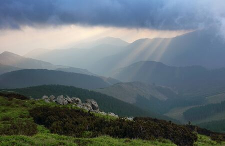 yuan yang: sun rays bursting through the skies in late afternoon