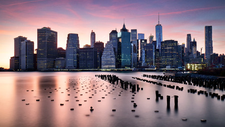 sunset city: Manhattan skyilne, New York City at sunset.
