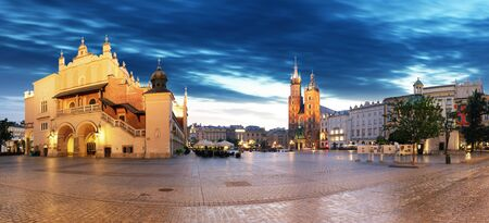 old city: Krakow old city at night. Market Square at night, panoramic view.