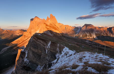 odle: peak Seceda hills of Odle group at Val Gardena Dolomites Italy Stock Photo
