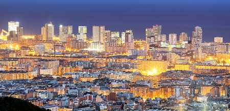 views: Spain, Cityscape of Barcelona at night.