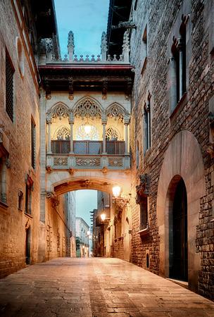 Barri Gothic Quarter and Bridge of Sighs in Barcelona, Catalonia, Spain 스톡 콘텐츠