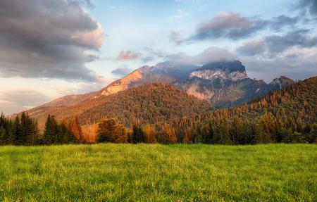 mnich: Majestic sunset in mountains landscape, Carpathian, Slovakia