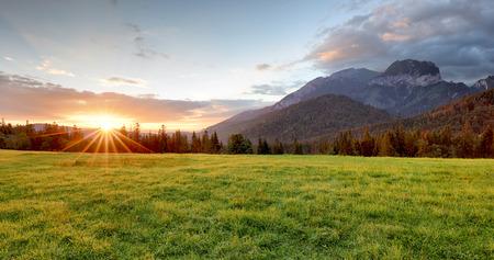 Sunrise in mountains landscape, Slovakia, Tatranska Javorina Foto de archivo