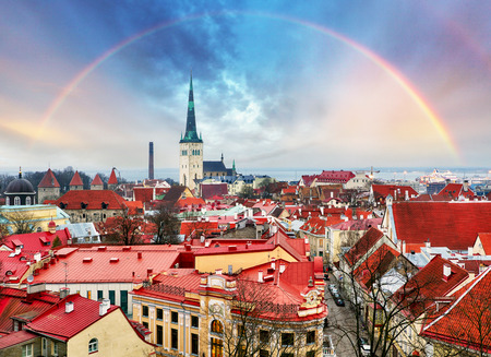 Tallin Aerial View of Old Town from Toompea Hill with rainbow, Estonia Stock Photo