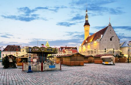 town hall square: Christmas in Tallinn. Town Hall Square, Estonia. Stock Photo