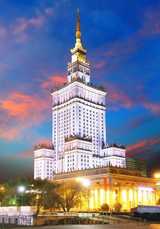 culture: Palace of Culture and Science in Warsaw, Poland at night.