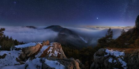 top mountain: Night mountain panoramic view landcape