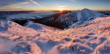 mountain sunset: Sunset in mountain at winter Stock Photo