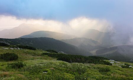 Mountain in clouds, Low Tatras Stock Photo