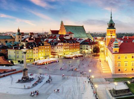 Warsaw, Old Town Warsaw, Poland during sunset.