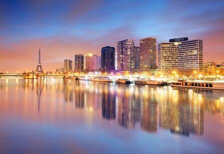 disctrict: Paris skyline with Eiffel tower in background