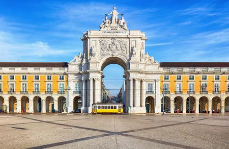 Praca do Comercio with yellow tram, Lisbon, Portugal