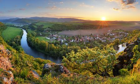 serene landscape: Serene sunset landscape by the Hron River, Slovakia Stock Photo