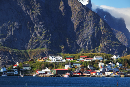 summer nature: Norwegian fishing village with traditional red rorbu huts, Reine, Lofoten Islands, Norway