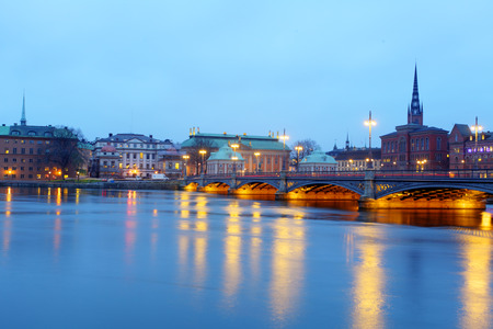 Beautiful evening scenic panorama of the Old Town (Gamla Stan) pier architecture in Stockholm, Sweden