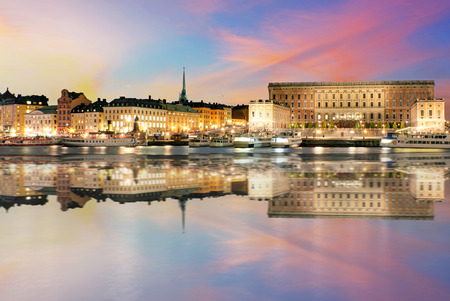 Sunset view of The Royal Palace in Stockholm. (Sweden) Editorial