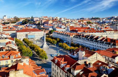 elevador: Lisbon skyline from Santa Justa Lift, Portugal Stock Photo