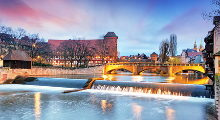 europeans: Nuremberg town - The riverside of Pegnitz river, Germany